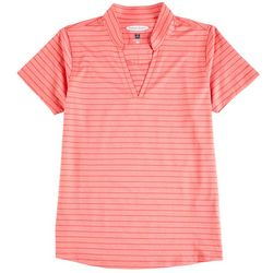 Pebble Beach Womens Solid & Striped Active Polo
