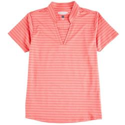 Womens Solid & Striped Active Polo Shirt
