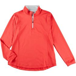 Womens Solid Color Half Zippered Jacket