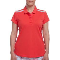 Pebble Beach Womens Solid Ruffle Dot Panel Polo Shirt