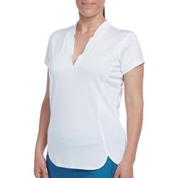 Pebble Beach Womens Solid Panel Detail Short Sleeve Shirt