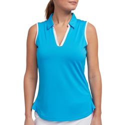 Womens Solid Contrast Sleeveless Polo Shirt