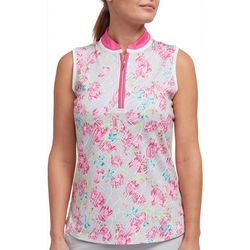 Pebble Beach Womens Floral Print Zippered Polo Shirt
