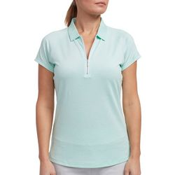 Pebble Beach Womens Solid Zippered Placket Polo Shirt