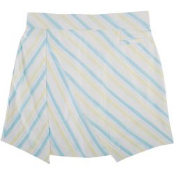 Pebble Beach Womens Diagonal Stripe Pull On Skort