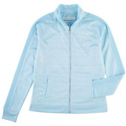 Pebble Beach Womens Striped Zippered Jacket