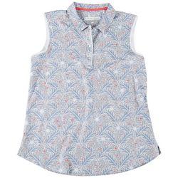Pebble Beach Womens Button-up Neck Leaf Print Polo