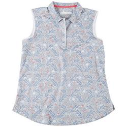 Womens Button-up Neck Leaf Print Polo Shirt