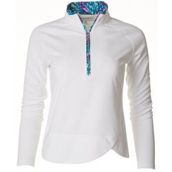 Pebble Beach Womens Quarter Zip Textured Long Sleeve Top