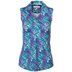 Pebble Beach Womens Floral Collared Top