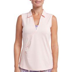 Pebble Beach Womens Textured Sleeveless Polo Shirt
