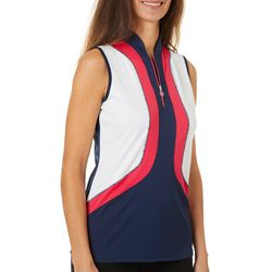 Greg Norman Womens Palm Beach Juniper Sleeveless Polo Shirt