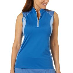Greg Norman Womens Apex Colorblock 1/4 Zip  Sleeveless Polo