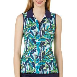 Lillie Green Womens Sleeveless Banana Leaf Print Polo Shirt