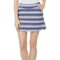 Lillie Green Womens Stripe Print Scalloped Pull On Skort