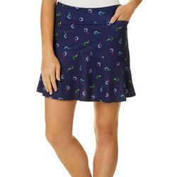 Lillie Green Womens Fore! Asymmetrical Flounce Pull On Skort