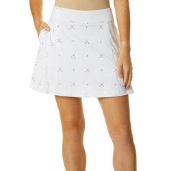 Lillie Green Womens Ditsy Golf Clubs Flounce Pull On Skort