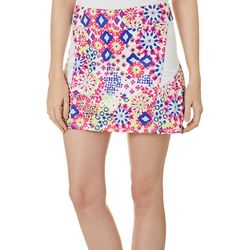 Lillie Green Womens Muted Geo  Pull On Skort