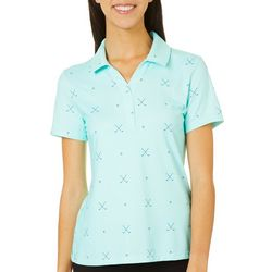 Lillie Green Womens Crossed Golf Clubs Print Polo Shirt