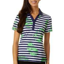 Womens Stripes & Fronds Golf Polo Shirt