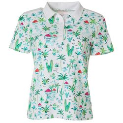 Lillie Green Womens Paradise Scene Golf Polo Shirt