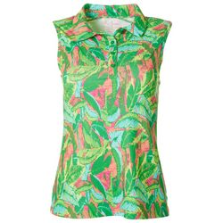 Lillie Green Womens Banana Leaf Sleeveless Polo Shirt