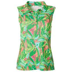 Womens Banana Leaf Sleeveless Polo Shirt