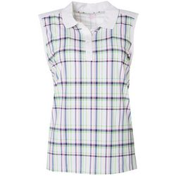 Lillie Green Womens Plaid Print Sleeveless Polo Shirt