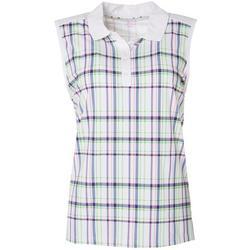 Womens Plaid Print Sleeveless Polo Shirt