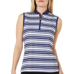 Lillie Green Womens Striped Sleeveless Polo Shirt