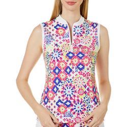 Womens Muted Geo Sleeveless Polo Shirt