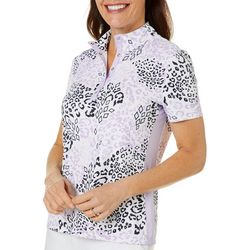 Coral Bay Golf Womens Leopard Short Sleeve Top