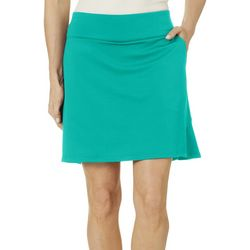 Coral Bay Golf Womens Solid Flared Print Pull On Skort
