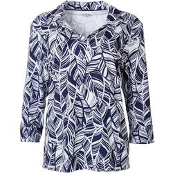 Womens Graphic Leaf 3/4 Sleeve Top