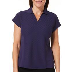 Womens Textured Short Sleeve Polo Shirt