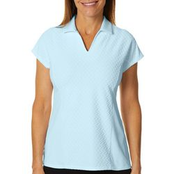 Womens Textured Short Sleeve Polo Shirt