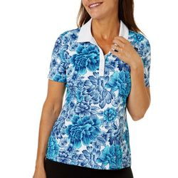 Womens Falling Flowers Polo Shirt