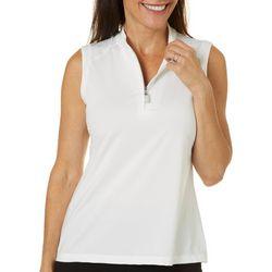 Womens Solid Sleeveless Polo Shirt