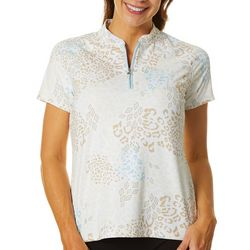 Womens Animal Geo Zip Short Sleeve Polo Shirt