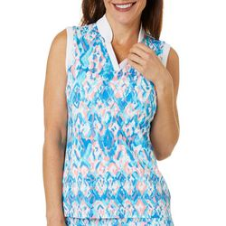 Womens Sleeveless Ikat Printed Polo Shirt