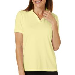 Womens Solid Short Sleeve Polo Shirt