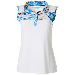 Coral Bay Golf Womens Tropical Contrast Sleeveless Polo Top