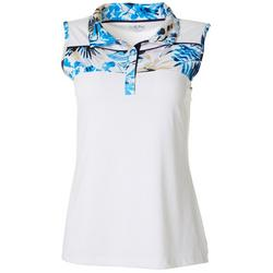 Womens Tropical Contrast Sleeveless Polo Top