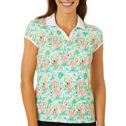 Womens Flamingo Paradise Polo Shirt