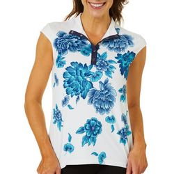 Womens Falling Flowers Snap  Short Sleeve Top