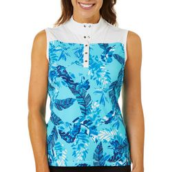 Womens Dot Leaf Colorblocked Sleeveless Top