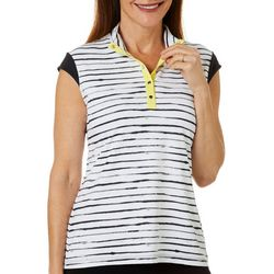 Coral Bay Golf Womens Watercolor Stripe Cap Sleeve Shirt