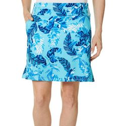 Coral Bay Golf Womens Dotted Leaf Print 18in. Flared Skort