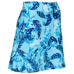 Womens Dotted Leaf  Print Flared Skort