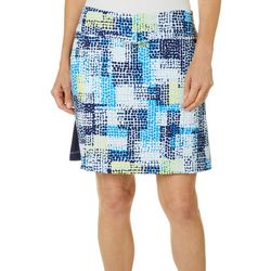Womens Dotted Grid Print Pull On Skort